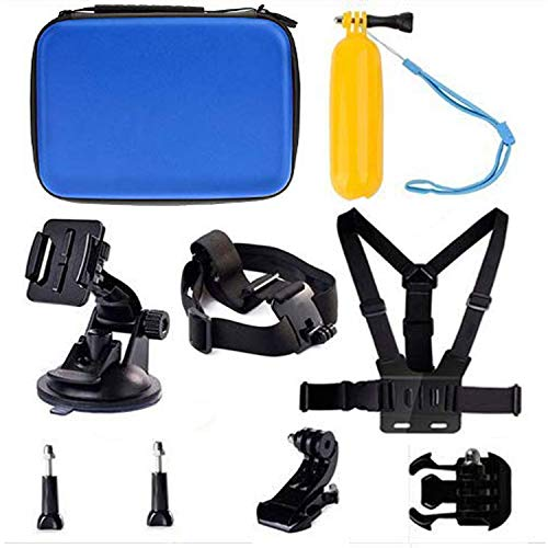 Navitech 9 in 1 Action Camera Accessory Combo Kit and Rugged Blue Storage Case Compatible with The Amuoc 4K WiFi Ultra HD Action Camera