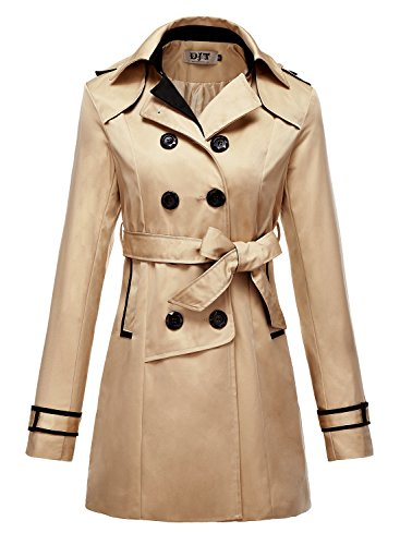 DJT Women's Elegant Long Trench Coat with Belt #2 Champagne L