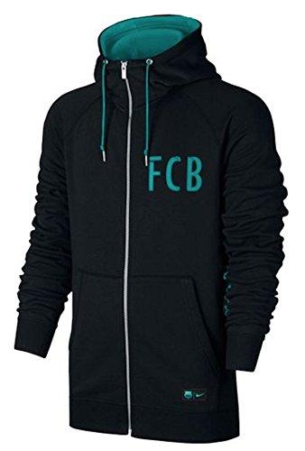 Nike Men's Barcelona NSW Hoodie Full-Zip FT Authentic Soccer Hooded Sweatshirt (X-Large) Black, Energy (Barcelona Full Zip Jacket)