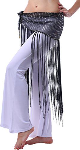 Halloween Belly Dance Flaring Hip Scarf Triangle Long Fringe Tassels(black silver,XS/S/M/L) (Fringe Hip Belt)