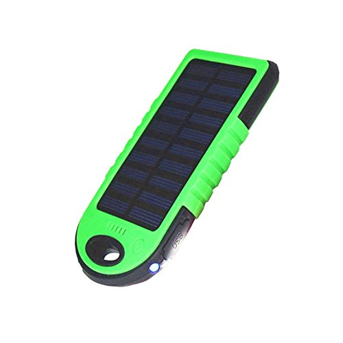 Zehui USB Output Portable Solar Charger 2 In 1 Solar Powered Power Bank Dual Waterproof Dustproof Shockproof Green