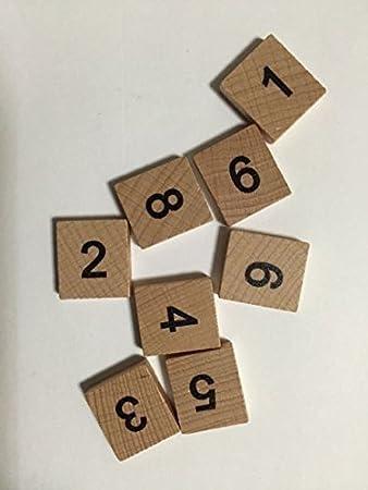 Scrabble-Spielsteine, Zahlen, 100 Stück, aus Holz, 0-9, je 10 Stück ...