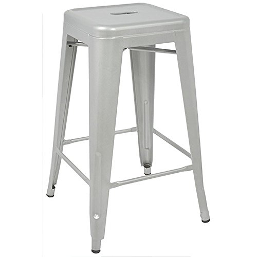 Amazoncom Silver 24 Inch Metal Counter Bar Stools Set Of 2