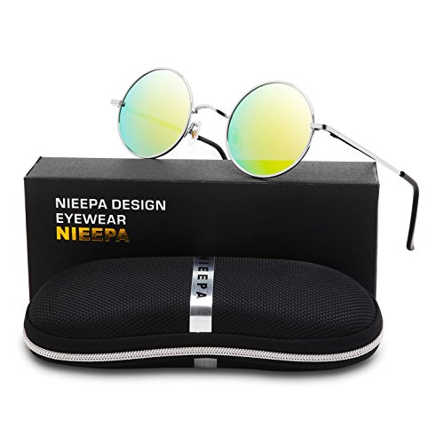 NIEEPA John Lennon Vintage Round Polarized Hippie Sunglasses Small Circle Metal Driving Sun Glasses (Gold Lens/Silver - Mirror John Lennon Mirror