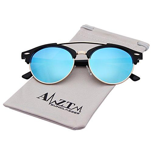 AMZTM Double Bridge Semi-Rimless Retro Polarized Mirrored Reflective Round Aviator Sunglasses For Women and Men (Black Frame Ice Blue Lens, 51) ()