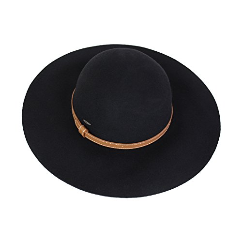 Elliott and Oliver Co. Vintage 100% Wool Felt Floppy Hat Fedora With Wide Brim and Vegan Leather Belt Trim (Black) Belt Style Leather Hat Bands