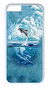 iPhone 6 Plus Cases, ACESR Plastic Hard Case Cover for Apple iPhone 6 Plus (5.5inch Screen) White Border Dolphin Sky Cloud