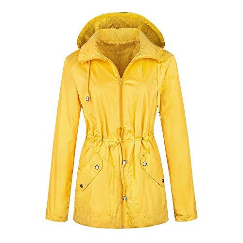 (Daxvens Women Rain Jackets Waterproof Lightweight Raincoat Windbreaker with Hood Yellow)