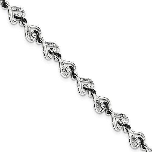 Sterling argent noir et blanc diamant coeur Bracelet Symbole Infini-JewelryWeb