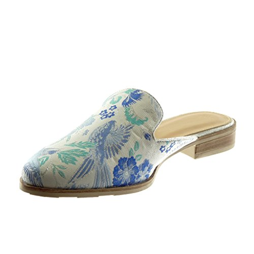 Angkorly Women's Fashion Shoes Oriental Slippers Mules - Slip-on - Open-Back - Fantasy - Flowers - Embroidered Block Heel 2.5 cm Blue VPd5vg