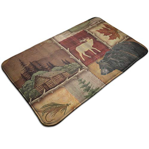 WOWINNER Rustic Lodge Bear Moose Doormat Entrance Floor Rug Indoor Mat Non-Slip Flannel for Bedroom Bathroom Living Room Kitchen Home Decorative