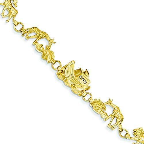 14k Yellow Gold Noahs Ark Bracelet - 7 Inch - Lobster Claw