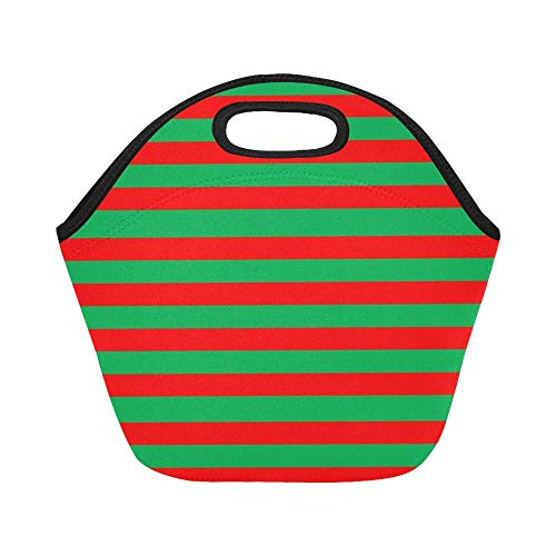 Insulated Neoprene Lunch Bag Red Green Christmas Holiday Large Size Reusable Thermal Thick Lunch Tote Bags For Lunch Boxes For Outdoors,work, Office, School