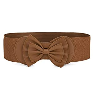 Allegra K Women Bowtie Ornament Press Stud Button Elastic Waist Cinch Belt