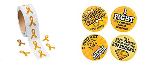 500 Gold Ribbon Cancer Awareness Stickers And 1 Childhood Cancer Superhero Button