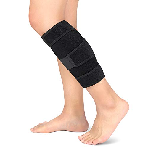 Calf Brace, Shin Splint Support Lower Leg Compression Wrap with Adjustable Three Anti-Slip Strap Support for Pulled Calf Muscle Pain Strain Injury, Sprain and Swelling, Fits Men and Women (Black)