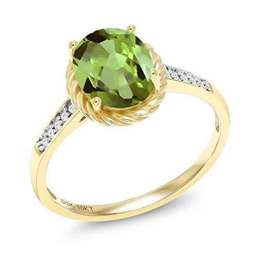 1.87 Ct Oval Green Peridot White Diamond 10K Yellow Gold Ring (Gold Peridot Gemstone Ring)