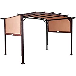 TANGKULA 12' x 9' Pergola Gazebo Canopy Outdoor Patio Garden Steel Frame Sun Shelter with Retractable Canopy Shades
