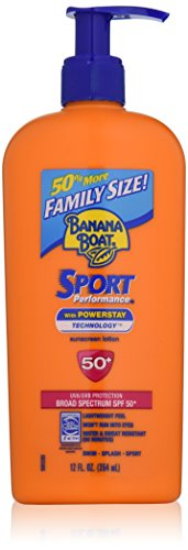 Banana Boat Sunscreen Sport Family Size Broad Spectrum Sun Care Sunscreen Lotion – SPF 50, 12 ounce