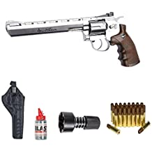 """ASG Dan Wesson 8"""" Silver Revolver Steel BB Airgun with Holster, Cartridges, Extra BBs, and a Speed-Loader"""