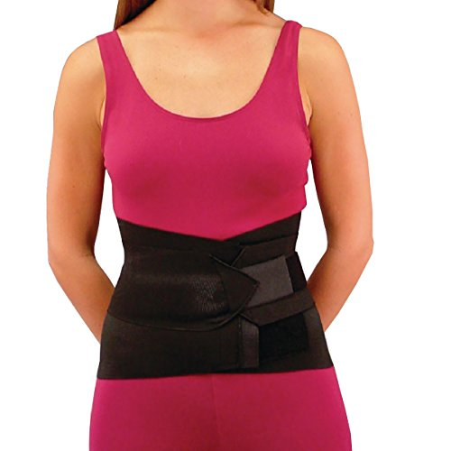 Sammons Preston Lumbosacral Support with Insert Pocket, XX-Large, Black, All-Elastic Comfort Abdominal Wrap with Double Pull Side - Double Pull Elastic