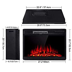 "Amerlife Electric Fireplace Insert 28"" -Electric Fireplace Heater with Remote Control Freestanding & Recessed fireplaces, 750/1500W, Black from AMERLIFE"