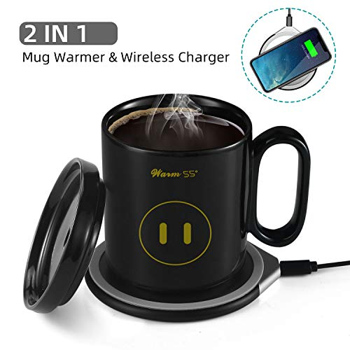 Coffee Mug Warmer with Wireless Charger, YISUN 2 in 1 Mug Warmer Set, Constant Temperature 122 F 50 C , Best Gift Idea for Home Office Use