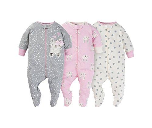 Gerber Onesies Baby Girl Sleep N Play Sleepers 3 Pack (0-3 Months, Heather (Bunny Sleeper)