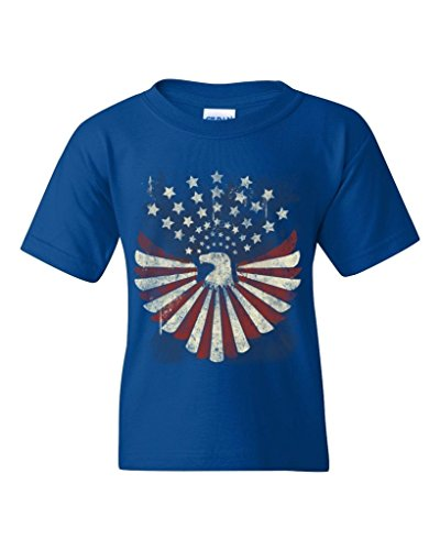 July Eagle Flag T-shirt (USA Flag Bald Eagle Youth's T-Shirt Patriot 4th of July Shirts Youth X-Large Royal Blue WS 15906)