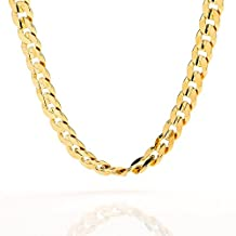 Skyjewelry Gold Chain Necklace 8mm Cuban Curb Link 24K Gold Plated Mens Jewelry