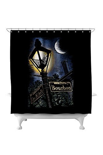 New Orleans, Louisiana - Bourbon Street Lamppost - Scratchboard (71x74 Polyester Shower ()