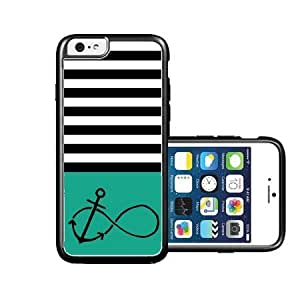 RCGrafix Brand anchored-forever Aqua & Grey Stripes Black iPhone 6 Case - Fits NEW Apple iPhone 6 by supermalls