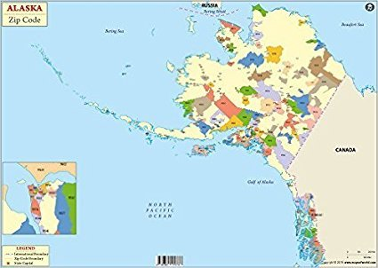 Amazon.: Alaska Zip Code Map (36