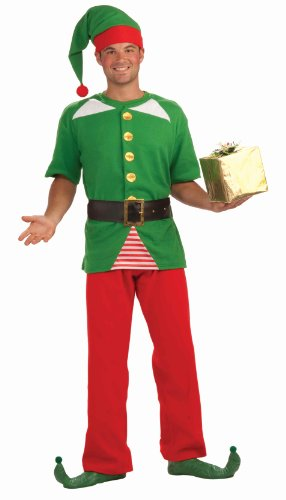 Holiday Elf Adult Costumes (Forum Novelties Men's Jolly Elf Kit, Multi, One Size)
