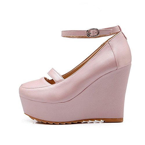 VogueZone009 Women's Pu Solid Buckle Round Closed Toe High Heels Pumps-Shoes Pink 08bB1