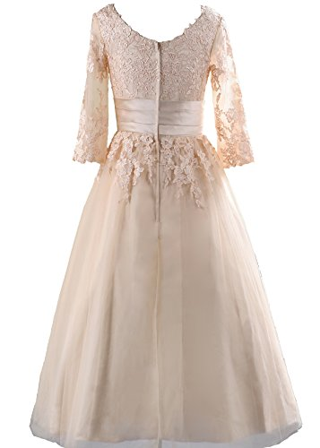 Mr.zhu Tea Length Lace Applique Scoop Half Sleeve Prom Dress at Amazon Womens Clothing store: