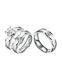 Castillna 3 Piece His and Hers Wedding Set, Brushed Stainless Steel Wedding Engagement Ring Band Sets for Women and Men