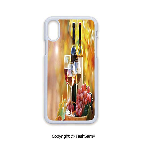 Plastic Rigid Mobile Phone case Compatible with iPhone X Black Edge Tasty Wine on Wooden Barrel on Grape Plantation Countryside Harvest Rural Growth Decorative 2D Print Hard Plastic Phone Case