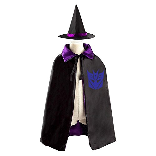 Womens Transformers Megatron Costumes (Children Transformers Decepticon Logo Halloween Christmas Cloak With Hat Witch Costume Props)