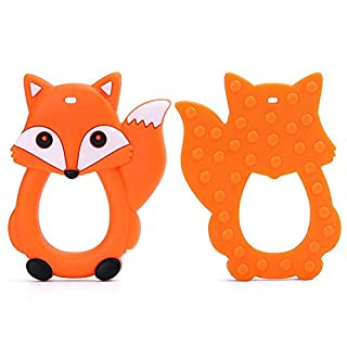 Cartoon Foxes Infant Baby Teether Silicone Pacifier Soother Teething Toy Pendant, Multicolor Fox Children Molar teether Food Grade
