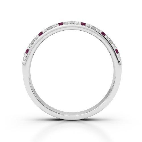 Or blanc 18carats 0,33CT G-H/VS Certifié Coupe ronde Rubis et diamants Agdr-1130