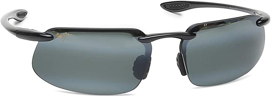 Maui Jim Kanaha Rimless Sunglasses in Gloss Black Polarised 409-02 61 Kanaha 61 Neutral Grey Polarised