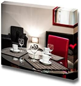 Dining Table with The Empty Coffee Cups and Glasses