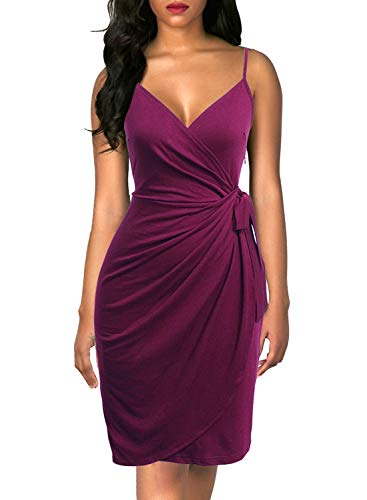 Berydress Women's Faux Wrap Dress Sheath Knee-Length Belted Knee-Length Spaghetti Strap Semi Formal Party Cocktail Dresses (S, 6089-Purple)