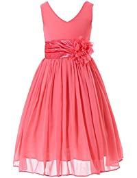 Junior Bridesmaids V-Neckline Chiffon Flower Girl Dress