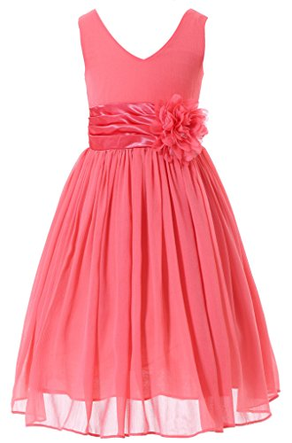 Bow Dream Flower Girl Dress Junior Bridesmaids V-Neckline Chiffon Coral 12