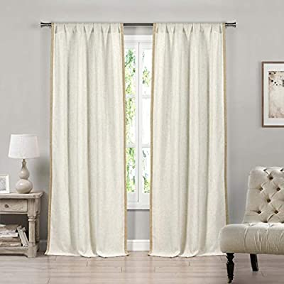 "Pole-Top Two 84/"" Long 2 White Semi-Sheer Window Curtain Panels: Striped"