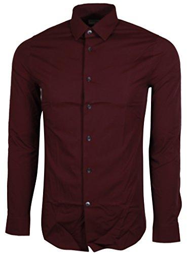 Express Men's Fitted Buttondown Shirt (Large, Burgundy) -