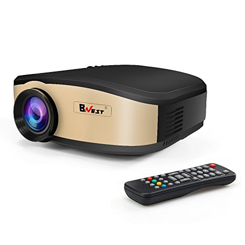 Wifi Video Projector,Bnest 1200 Lumens Portable Mini Projector Video Projector with Stereo speaker Support 1080P HDMI USB SD Card for Home TV Laptop Game(Gold)