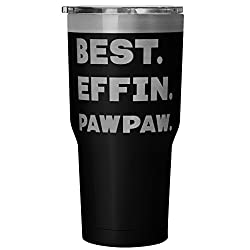 ArtsyMod BEST EFFIN PAWPAW Premium Vacuum Tumbler, PERFECT FUNNY GIFT for Your Grandfather from Granddaughter, Grandson! Humorous Gift, Attractive Water Tumbler, 30oz. (Black)